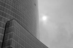 Cloudy modern building. Street shot on a cloudy day at Santiago de Chile of a modern building Stock Photo