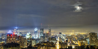 Cloudy Montreal by night Stock Photo