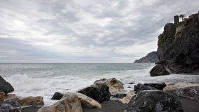 Cloudy morning on the bank of the Ligurian Sea stock video footage