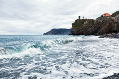 Cloudy morning on the bank of the Ligurian Sea Royalty Free Stock Photo
