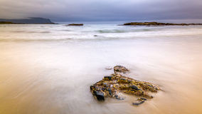 Cloudy morning at Flakstad Beach Royalty Free Stock Photography