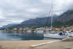 Cloudy morning in Makarska, Croatia Royalty Free Stock Photography