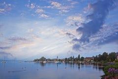 Cloudy Morning at Morges Marina. Beautiful cloudy sky in the early morning at Morges Marina, Switzerland Stock Images