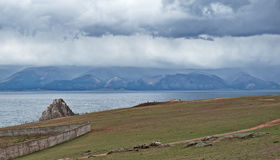 Cloudy morning on the Olkhon island. Lake Baikal Royalty Free Stock Image