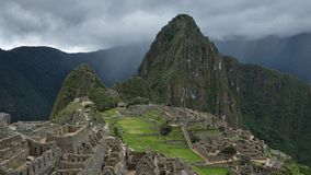 Full view of Machu Picchu archaeological site. stock photo