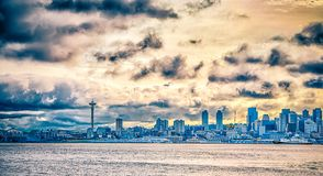 Free Cloudy Morning Over Seattle Washington Skyline Royalty Free Stock Photos - 107865448
