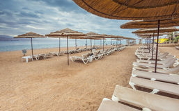 Cloudy morning at a public beach in Eilat Stock Photography