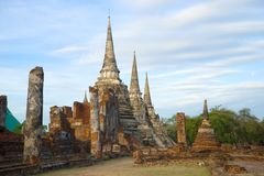 Cloudy morning on the ruins of a Buddhist temple Wat Phra Si Sanphet. Ayutthaya, Thailand Stock Images