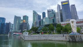 Cloudy Morning in Singapore at the Merlion Fountain. Editorial Use Only. Time Lapse stock footage