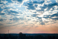 Cloudy morning sky. Morning sky and big fluffy clouds stock photos