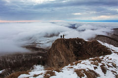 Free Cloudy Mountain At Winter With Man Stock Images - 36548694