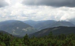 Cloudy mountain landscape. Cloudy cold mountain landscape in Carpathians, Ukraine Royalty Free Stock Photo