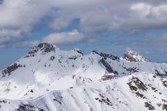 Cloudy mountain landscape of Krasnaya Polyana Royalty Free Stock Photography