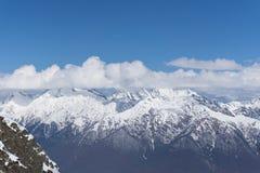 Cloudy mountain landscape of Krasnaya Polyana Stock Photo