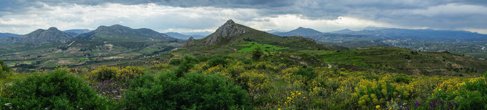 Cloudy mountain landscape with yellow flowers Stock Images