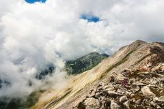 Cloudy mountain valley Stock Photography
