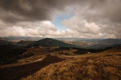 Cloudy mountain view in ukraine Royalty Free Stock Image