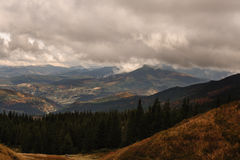Cloudy mountain view in ukraine Stock Photography