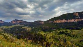 Cloudy mountains. Wyoming Buffalo city on cludy rainy day stock photo