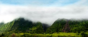 Cloudy mountains of flores, acores islands Royalty Free Stock Images
