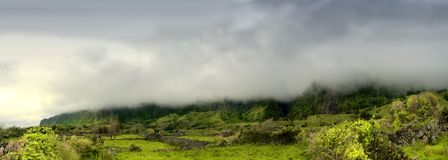 Cloudy mountains of flores, acores islands Stock Photos