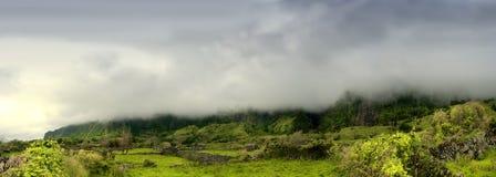 Cloudy mountains of flores, acores islands Stock Photos