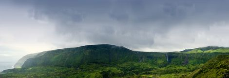 Cloudy mountains of flores, acores islands Royalty Free Stock Photos