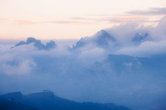 Cloudy mountains sunrise Stock Photography