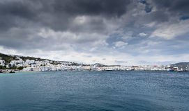 Cloudy Mykonos city view Royalty Free Stock Photography