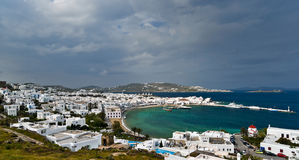 Cloudy Mykonos view Royalty Free Stock Image