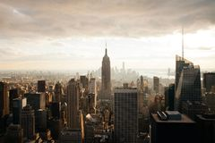 Cloudy New York City With Empire State Building Royalty Free Stock Photo