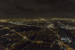 Cloudy Night Aerial Los Angeles Stock Photo