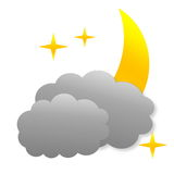 Cloudy night as weather icon Stock Images