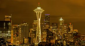 Free Cloudy Night At Downtown Seattle Royalty Free Stock Photos - 101524688