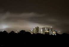 Cloudy Night Austin Texas skyline, June 2015 Royalty Free Stock Photos