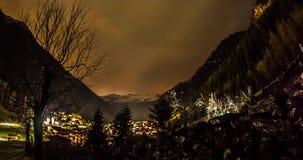 Cloudy Night Mountains Motionlapse 4k. Night mtionlapse of Kaunertal valley in Austria stock video footage