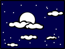 Cloudy night sky with moon vector illustration Royalty Free Stock Images
