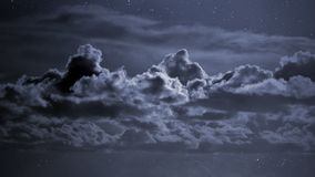 Cloudy night sky. With stars stock image