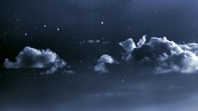 Cloudy night sky. With stars stock images