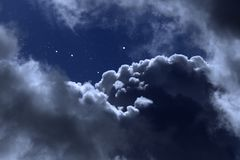 Cloudy night with stars. Cloudy night sky with stars stock image