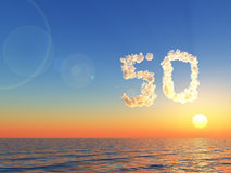 Cloudy number fifty over water - 3d rendering Stock Image