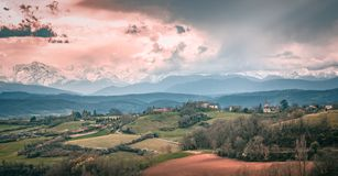 Great view of the french pyrenees mountain stock images