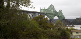 Cloudy Overcast Day McCullough Memorial Bridge Coos Bay Oregon Stock Photos