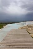 Cloudy Pamukkale. Unesco world heritage site in Turkey stock image