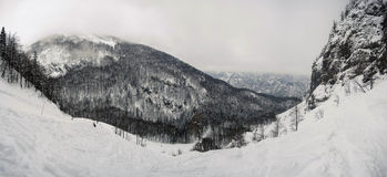 Cloudy panorama landscape in the slovenian alps Royalty Free Stock Photography
