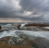Cloudy panoramic seascape with flowing water Stock Photo