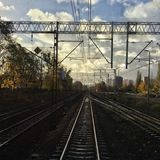 Cloudy railway track. Photo shows cloudy railway track in Gdańsk Royalty Free Stock Images