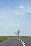 Cloudy Road. A road in the coutryside and a blue sky Royalty Free Stock Images