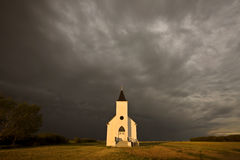Cloudy Saskatchewan day. Church Storm Canada Royalty Free Stock Photo