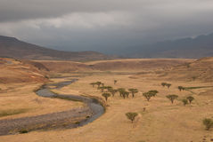 Cloudy savannah. Dry savannah between the mountains on a cloudy day, South Africa royalty free stock photo
